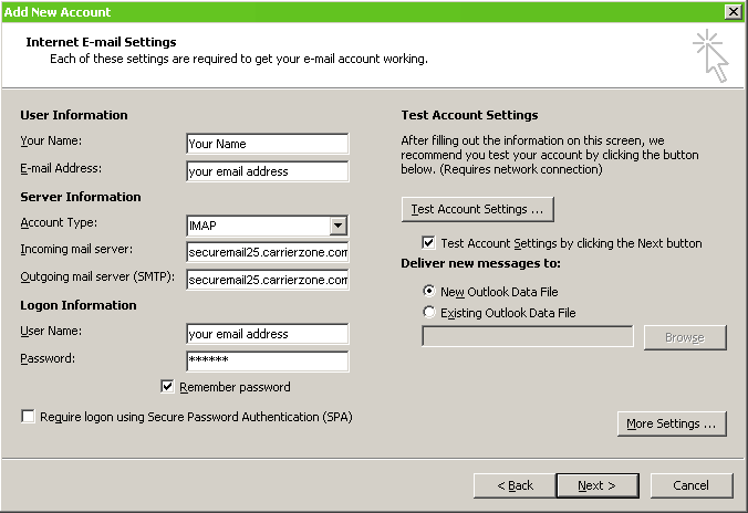 Windstream Domain Services   Outlook 2010 SMTP Settings