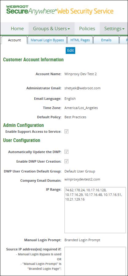 Windstream Domain Services | Webroot DWP Configuration User