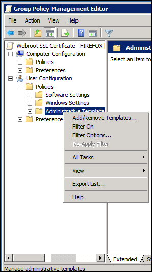 import the adm template into the newly created gpo by navigating to user configuration policies administrative templates